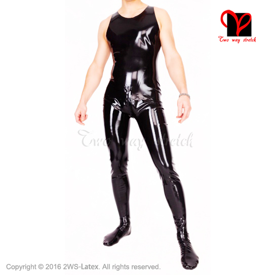 Sexy black Latex Catsuit with feet Sleeveless Rubber overall socks Singlet XXXL Tank Gummi stocking plus