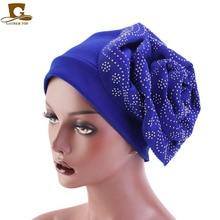 купить Luxury Rhinestoned Flower Turban Headwrap King Size 3D Women Muslim dress Hijab Hair Accessories Caps hijabs по цене 218.19 рублей