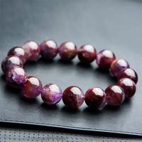 13mm Genuine Natural Auralite 23 Bracelets Purple Red Natural Stone Crystal Stretch Round Bead Bracelet