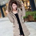 Nice Plus Size Winter Jacket Women White Duck Down Hooded Warm Parkas For Women Imitation Raccoon Fur Collar Coat & Parkas HJ158