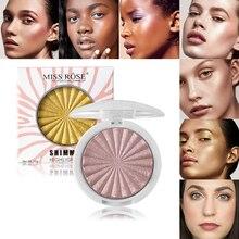 Miss Rose 3D Shimmer Powder Highlighter Palette Face Base Illuminator Makeup Bronzers Highlight Contour Silver Golden