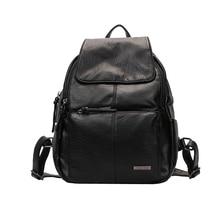 Mtghafikqbs Кожа PU Рюкзак Женщины сумки на плечо для подростков черный повседневный рюкзак travel Bolsas натуральная B1