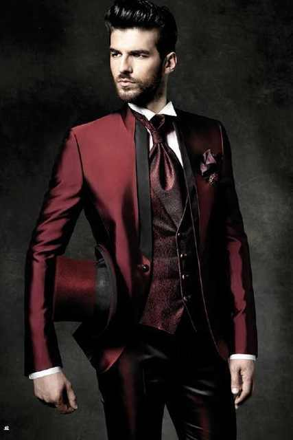 2019 High Quality One Button Dark Red Groom Tuxedos Groomsmen Mens Wedding Suits Prom Bridegroom (Jacket+Pants+Vest+Tie)