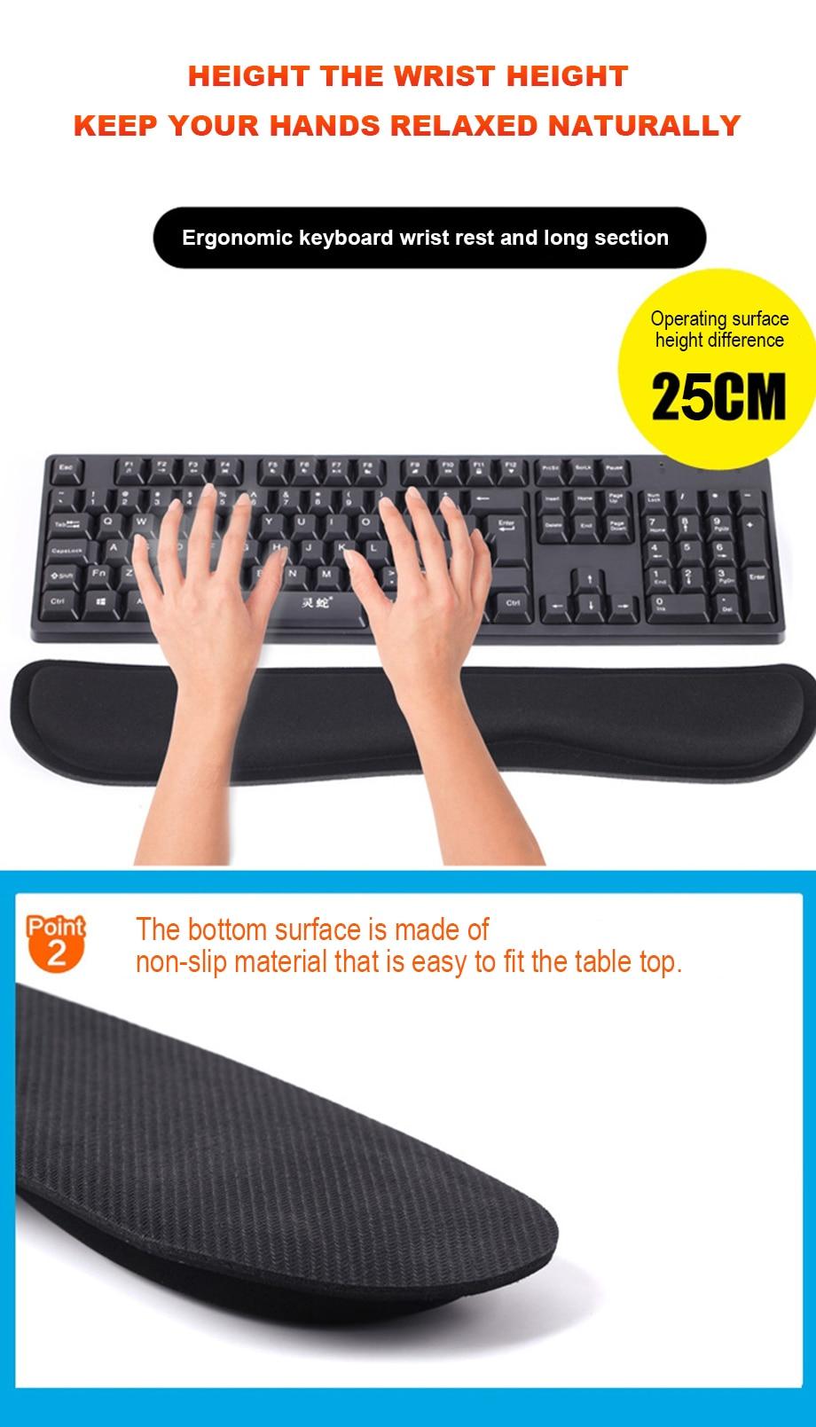 Wrist Guard Slow Rebound Memory Foam Keyboard Holder Three Colors, Color : Dark Blue Ergonomic Keyboard Pad Mouse Pad Bottom Surface Anti-Skid Wrist Pad//Wrist Holder