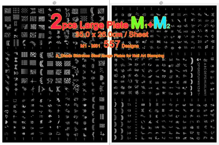 557 Designs Large Size Konad Nail Art Stamping Image Plates M Serie ...