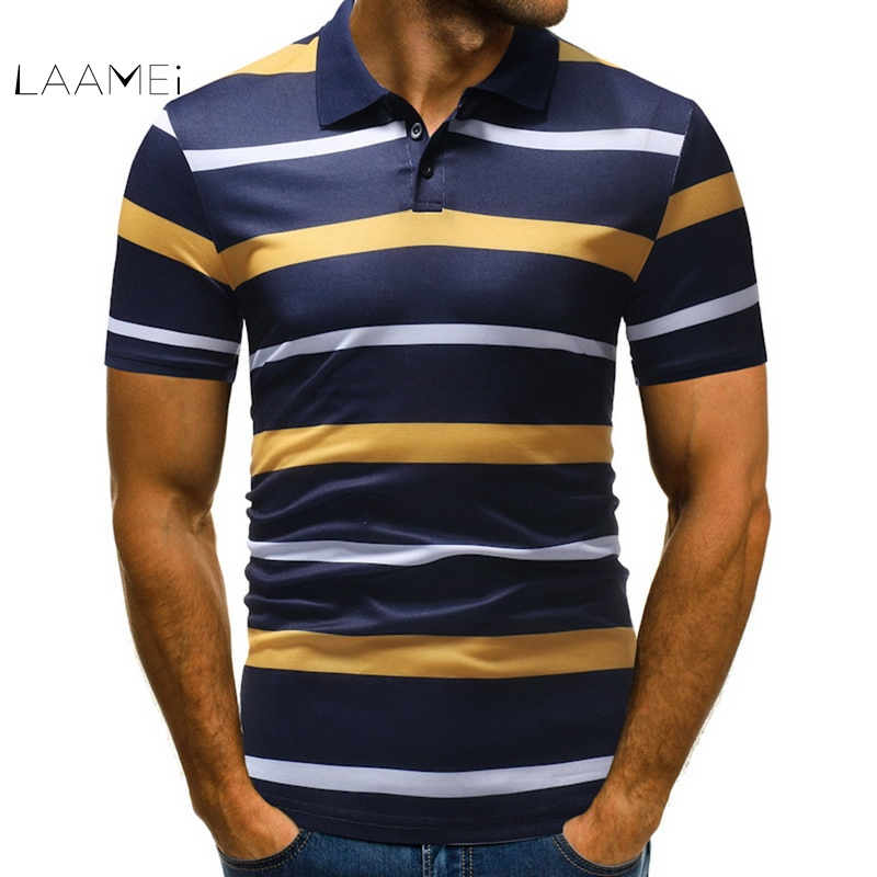 Laamei High Quality Tops Mens   Polo   Shirts Fashion Summer 2018 Striped Slim Fit Short Sleeve   Polo   Shirt Male Casual   Polo   Homme