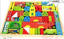 La livraison est gratuite, Enfants jouets en bois, Impression couleur château blocs de construction, Boîte de circulation blocs de, Jouets éducatifs