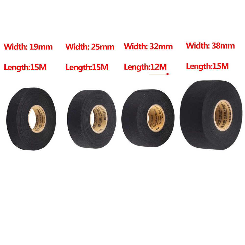 hight resolution of 1pc 19mmx15m black car auto wiring harness flannel adhesive felt tape 25mmx15m 32mmx12m 38mmx15m noise reduction tape in tape from home improvement on