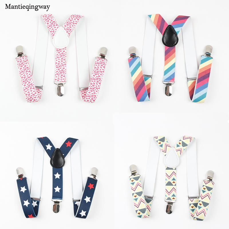 Mantieqingway Brand Fashion Baby 3 Clip-on Suspenders Kids Boys Grils Elastic Suspender Braces Casual Shirt Belt For Baby Suits