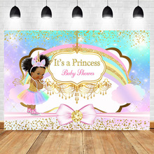 Unicorn Princess Baby Shower Photography Backdrop Rainbow Glitter Gold Diamonds Background Pink Bow Girl Backdrops