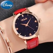 Women Luxury Bling Night Sky Star Rhinestone Shining Jewelry Ladies Genuine Leather Quartz Fashion Watches Disney Minnie Cuties