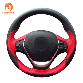 MEWANT Red Black Leather Steering Wheel Cover for BMW F20 2012-2018 F45 2014-2018 F30 F31 F34 2013-2017 F32 F33 F36 2014-2018