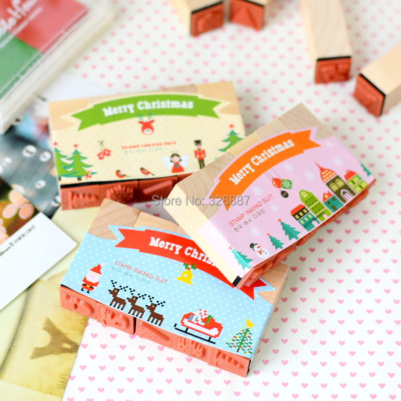 Wholesales 10 Sets Cartoon wooden Merry Christmas Kids  Educational toys for DIY Scrapbooking/Card Making/ Decoration