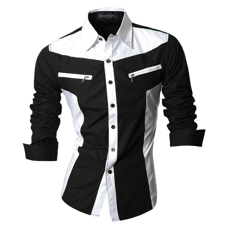 2019 Spring Autumn Features Shirts Men Casual Shirt Long Sleeve Casual Slim Fit Male Shirts Zipper Decoration (No Pockets) Z018
