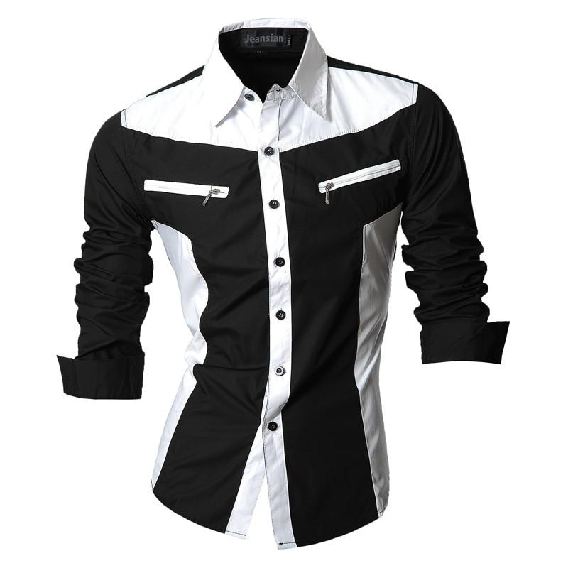 2019 lente herfst functies shirts heren casual jeans shirt nieuwe aankomst lange mouwen casual slim fit heren shirts Z018