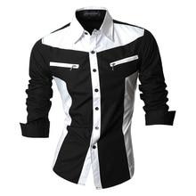 Jeansian אביב סתיו תכונות חולצות גברים מקרית חולצה ארוך שרוול Slim Fit זכר חולצות רוכסן קישוט (אין כיסים) z018