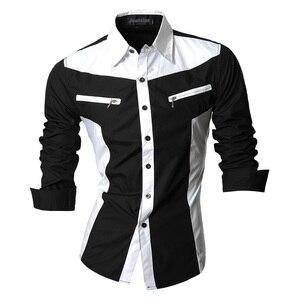 Image 1 - Jeansian chemises pour hommes, caractéristiques, printemps automne, décontracté chemise à manches longues, Slim Fit, fermeture éclair, décoration (sans poches) Z018