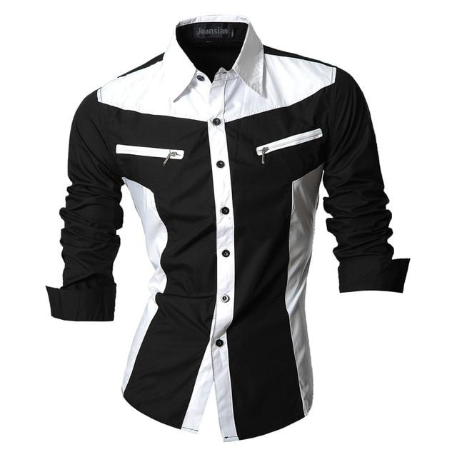 Jeansian chemises pour hommes, caractéristiques, printemps automne, décontracté chemise à manches longues, Slim Fit, fermeture éclair, décoration (sans poches) Z018