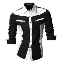Jeansian wiosna jesień cechy koszule męskie koszula na co dzień z długim rękawem Slim Fit koszule męskie Zipper Decoration (bez kieszeni) Z018