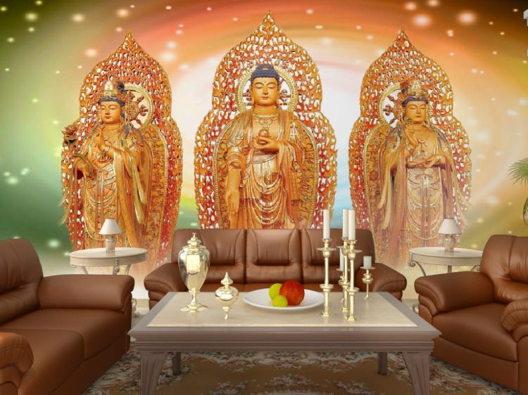 Custom 3d mural wallpaper temple mural wallpaper Buddha Buddhist religious teahouse wallpaper