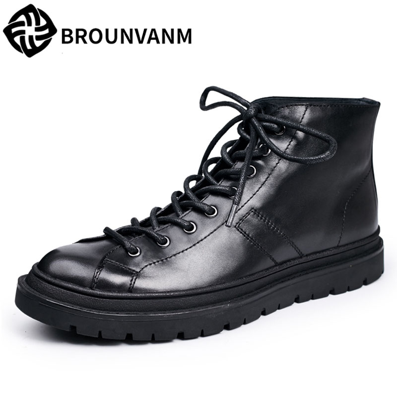 Black winter boots men Martin Vintage Motorcycle Men leather boots lace up Booties frock new autumn winter British retro shoes martin boots men s high boots korean shoes autumn winter british retro men shoes front zipper leather shoes breathable