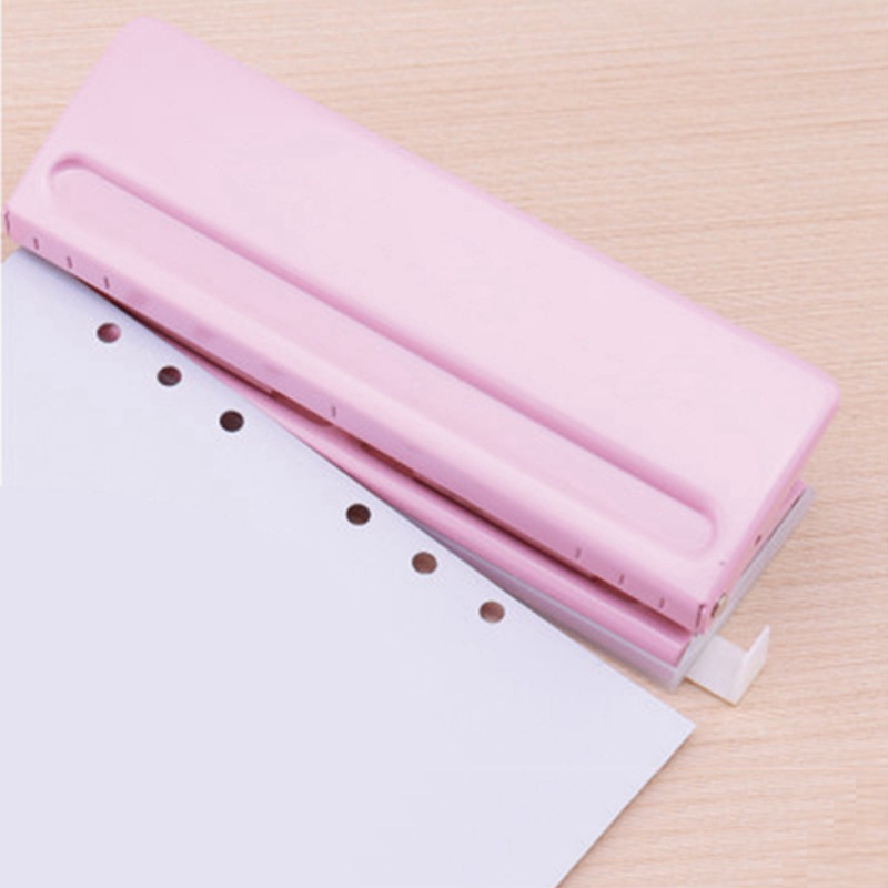 New 6 Hole Punch Loose-Leaf Standard Puncher Paper Adjustable Stapler Home Office Binding Supplies Student Stationery Equipment