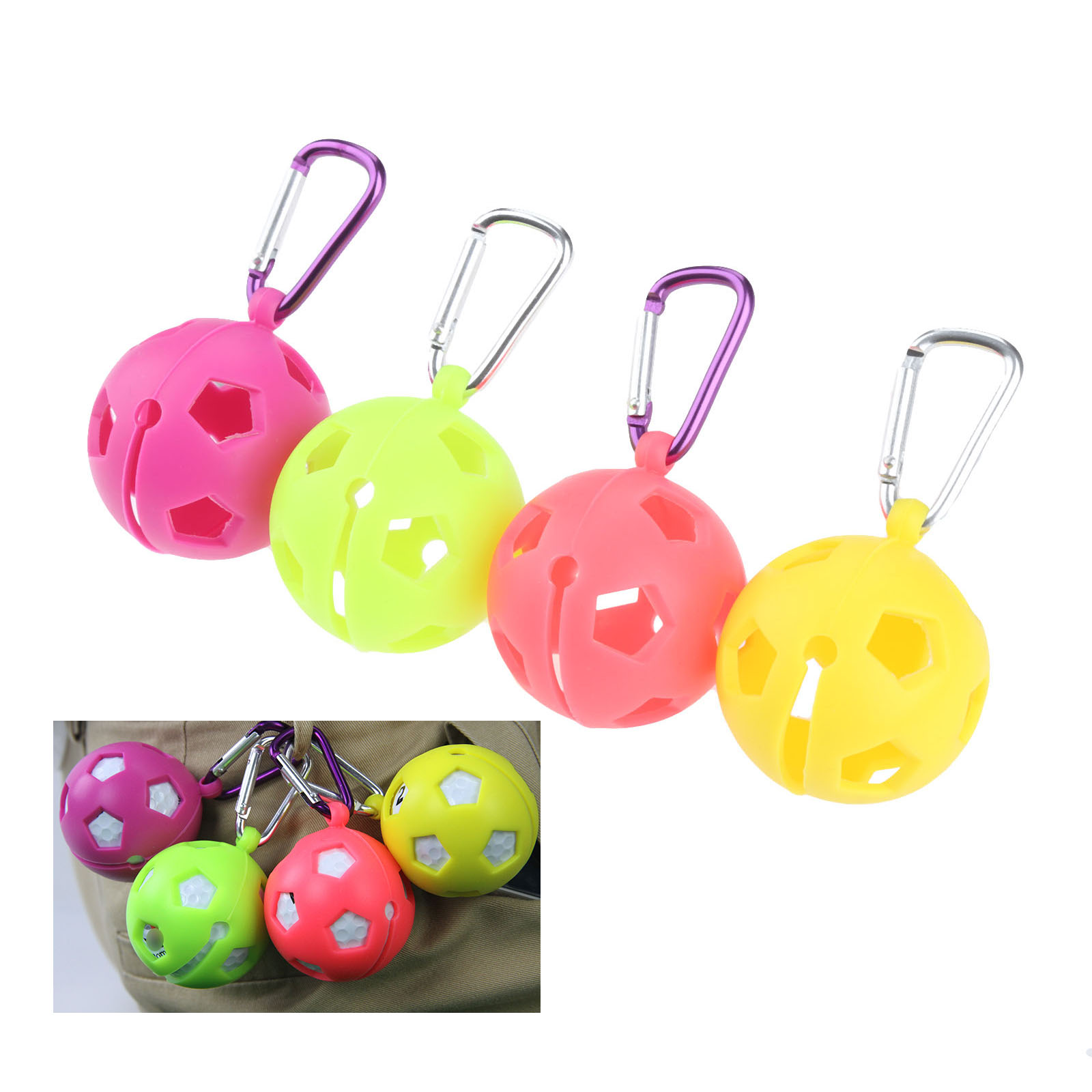 Portable Golf Ball Silicone Sleeve Protective Cover Bag Holder With Carabiner For 46mm 1 Ball Holder Golf Training Accessories
