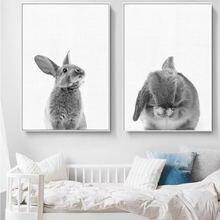 Каваи черный белый кролик стены искусства Смешные животные холст