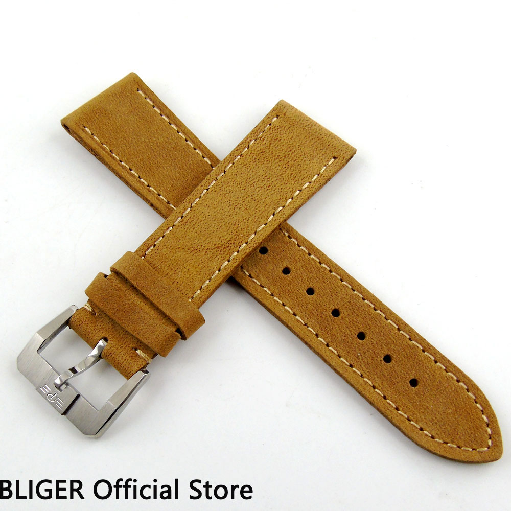 24MM 1PCS BLIGER Camel Genuine Leather Strap High quality Leather Watch Band Pin Clasp Buckle Fit For Men's Watch ST6 22 24mm silicone pin buckle wristwatch band mens womens watch strap high quality jd0108