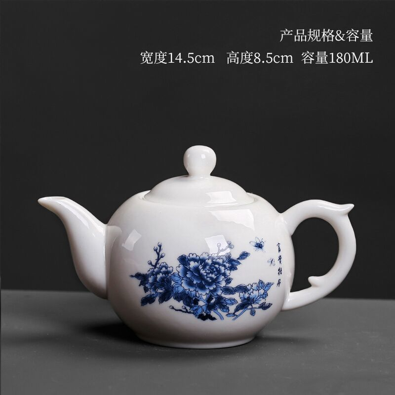 China porcelain pottery teapot single pot kung fu tea set tea pot blader blue and white porcelain Japanese ceramic kettle