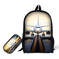 Aircraft design school bag 2 set backpack and pencil case adjustable straps for kids no smell sublimation prints good for skin