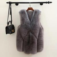 MISS M Faux Fur Coat Vest Winter Women 2018 New Fashion Casual Warm Slim Sleeveless Faux Fox Fur Vest Winter Jacket Women Female