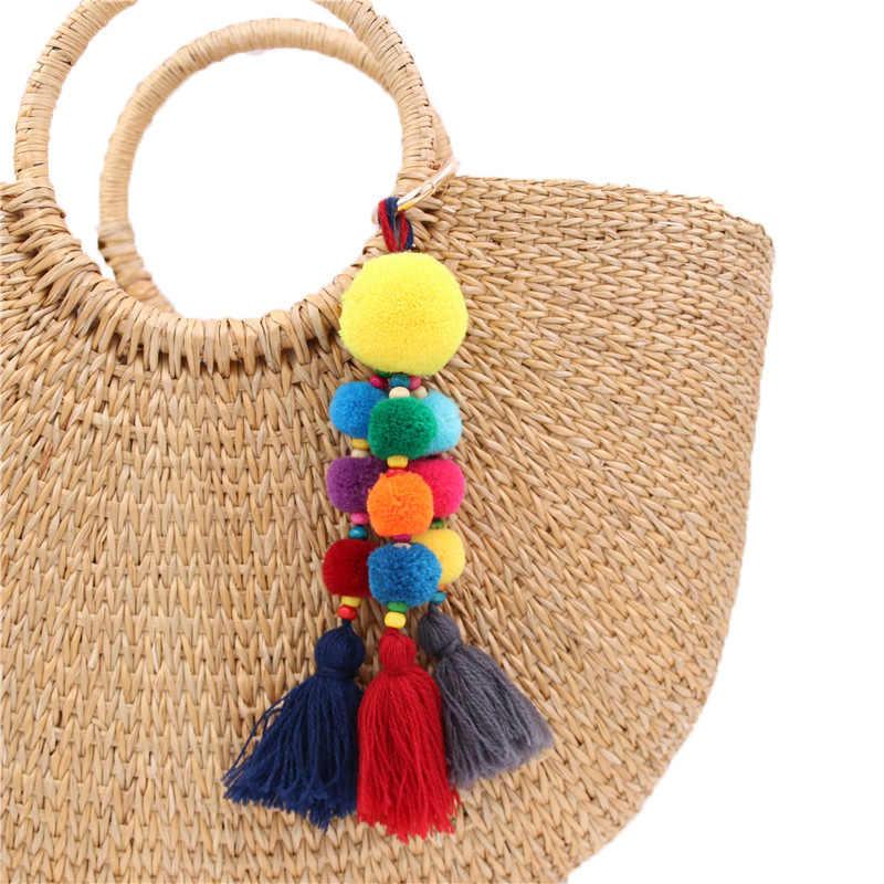 2553eecb6b Fancy&Fantasy Women Colorful Tassel Key Chain Ball Pompom Keychain Handbag  Pendant DIY Charm Keyring Girl Jewelry Accessories