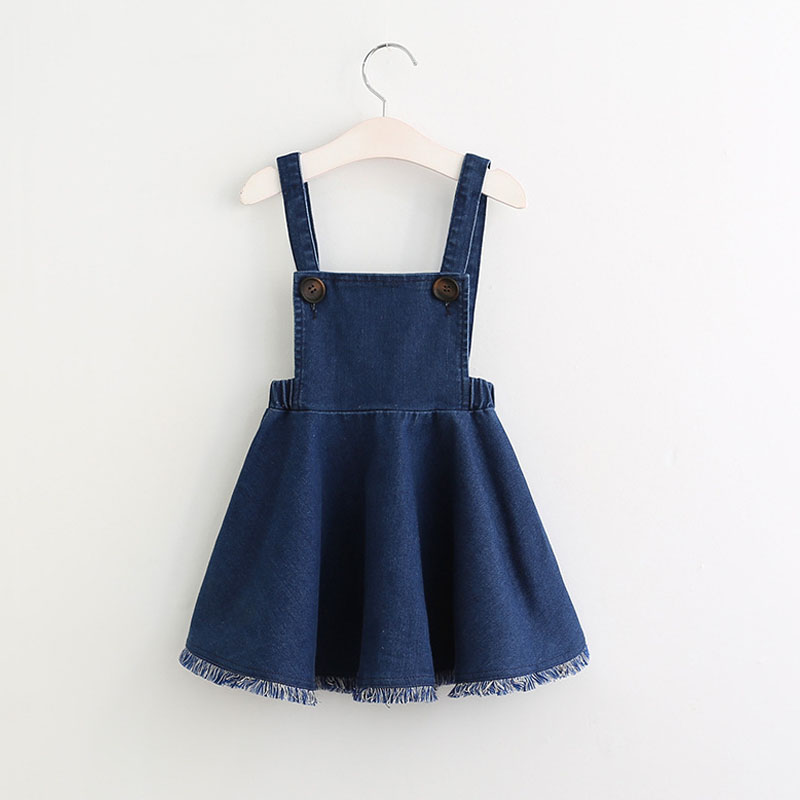 Girls Dresses Spring&Autumn New Fashion Style Girls Sling Denim Dress Princess Party Dress 3-8 Years Wear Kids Clothing 2017 new fashion dress cute girls long sleeve dress spring autumn princess wedding party fancy children clothing 3 8 years