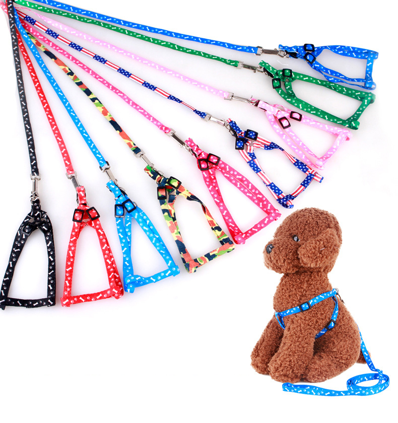 Adjustable Nylon Dog Leash and Harness Set for Small Dogs Cats Colorful Printed Dog Chest Straps Traction Rope Pets Leash Belt (1)