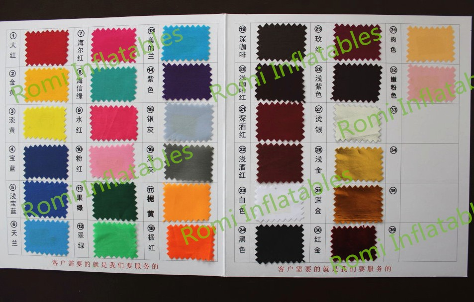 color board for inflatable stage cover tent