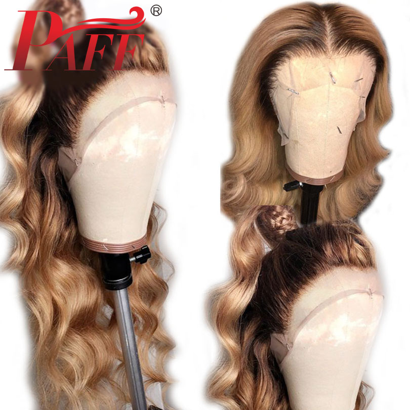 PAFF Ombre 4/27color 4*4 Silk Base Full Lace Wig Glueless Human Hair 180% Remy Brazilian Body Wave Hair Silk Top PrePlucked