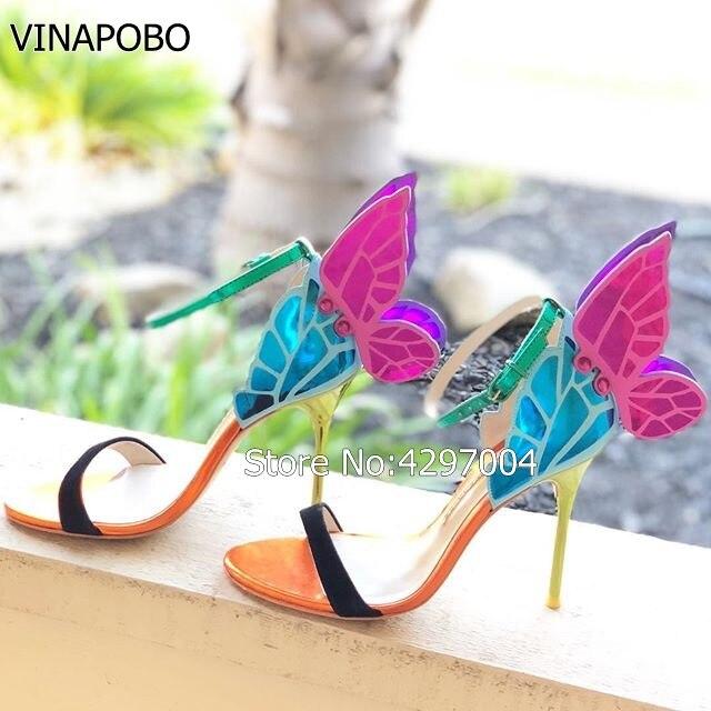 Vinapobo Colorful metallico ricamato sandalo in pelle ali di angelo pompe di vestito dal partito scarpe da sposa farfalla dell'involucro della caviglia tacco alto-in Tacchi alti da Scarpe su  Gruppo 2