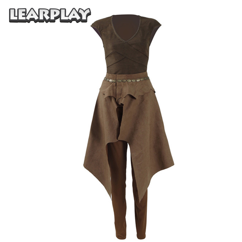 Game of Thrones Season 6 Daenerys Targaryen Cosplay Costume Brown Daily Uniform Halloween Shirt Skirt Pants For Woman Girls