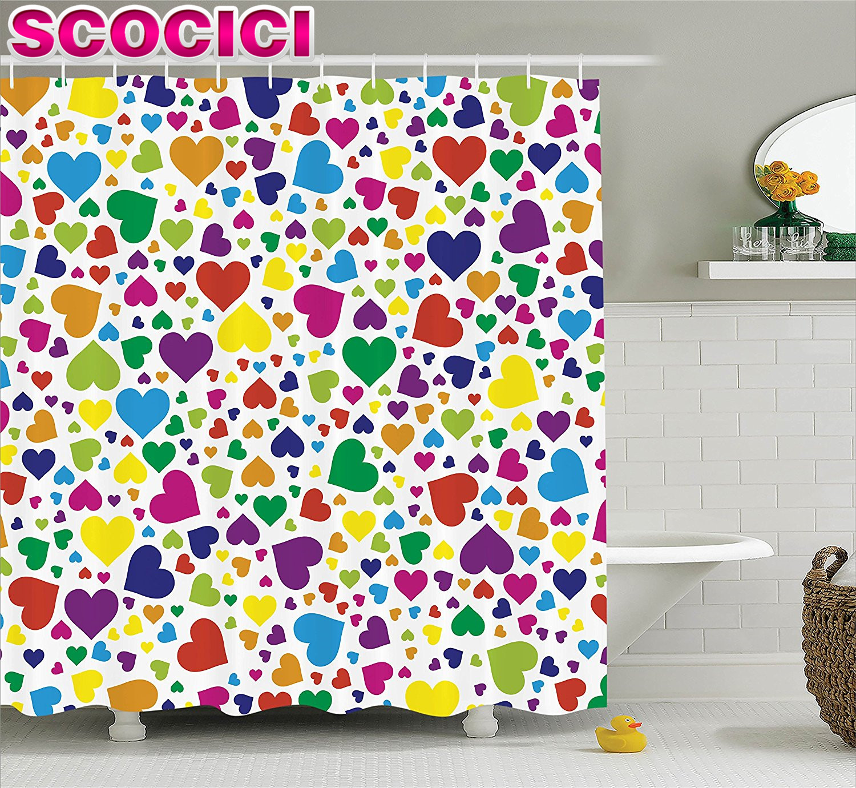 Rainbow bathroom accessories - Love Decor Shower Curtain Set Hearts Rainbow Vibrant Colors Love Honeymoon Joyful Fun Cheering Artwork Bathroom