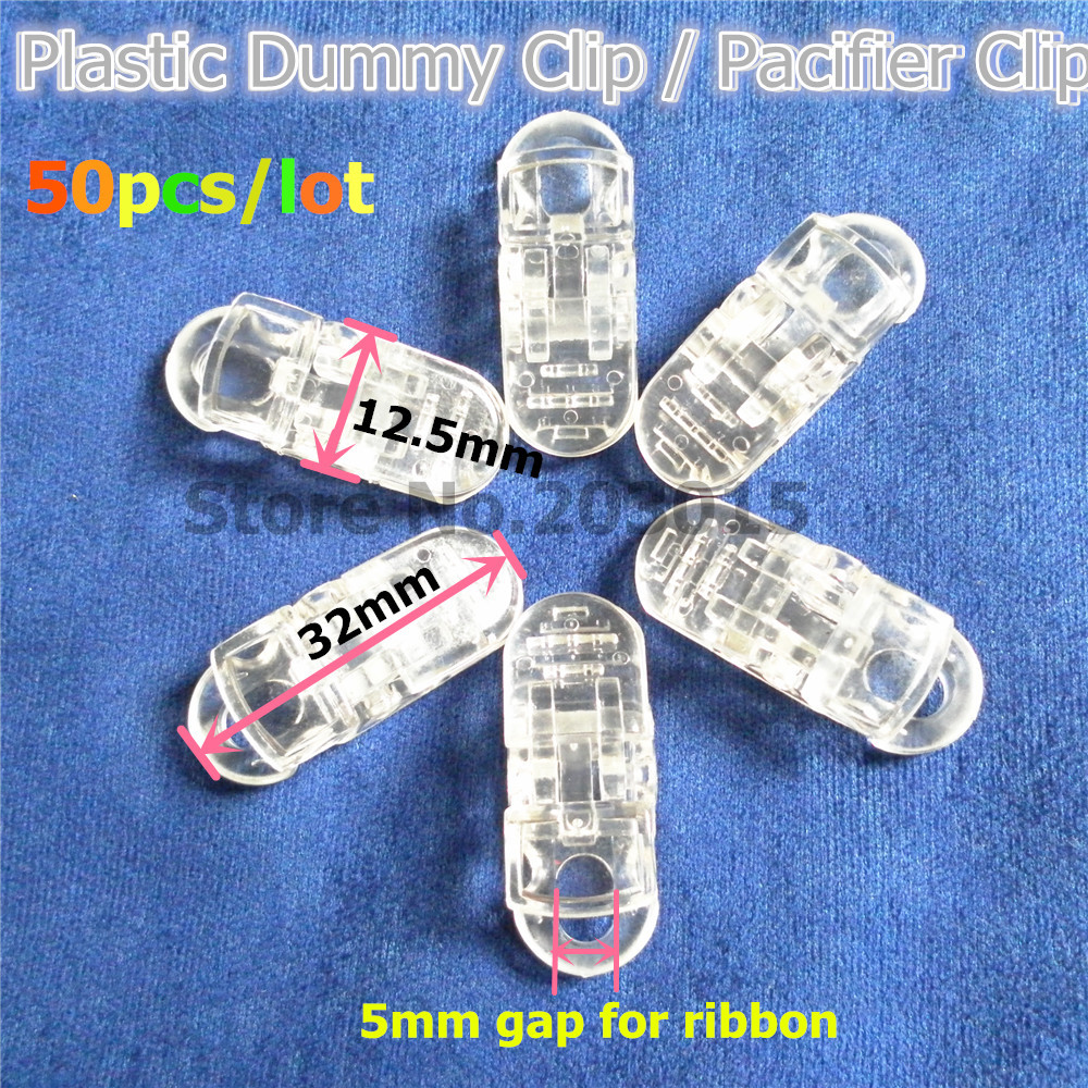 Chenkai 50pcs Clear Plastic Pacifier Dummy Clips DIY Transparent Alligator Baby Suspender Lanyard Chain Holder Toy Clip
