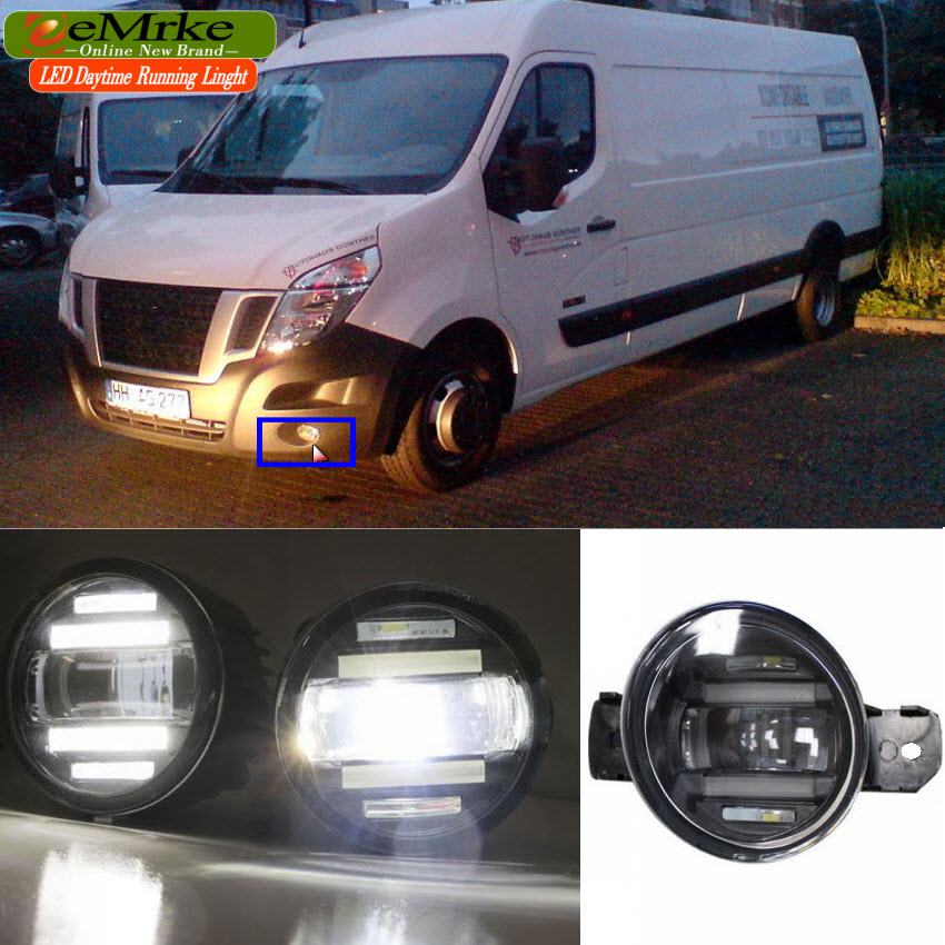 eeMrke Xenon White High Power 2in1 LED DRL Projector Fog Lamp With Lens For Renault Master 2010-up цена