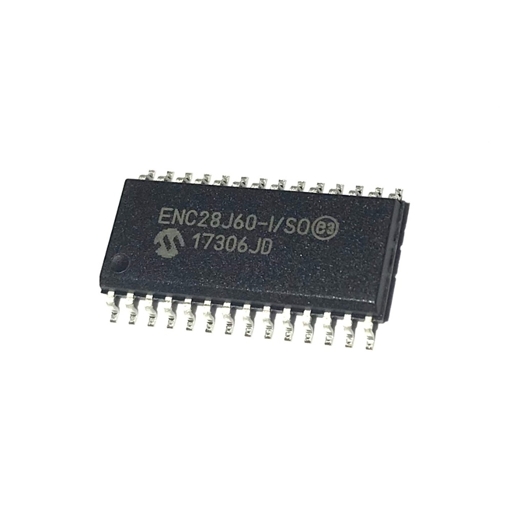 ENC28J60 ENC28J60-I/SO SOP28 Ethernet CTLR Single Chip 10Mbps 3.3V 28-Pin SOIC W Tube