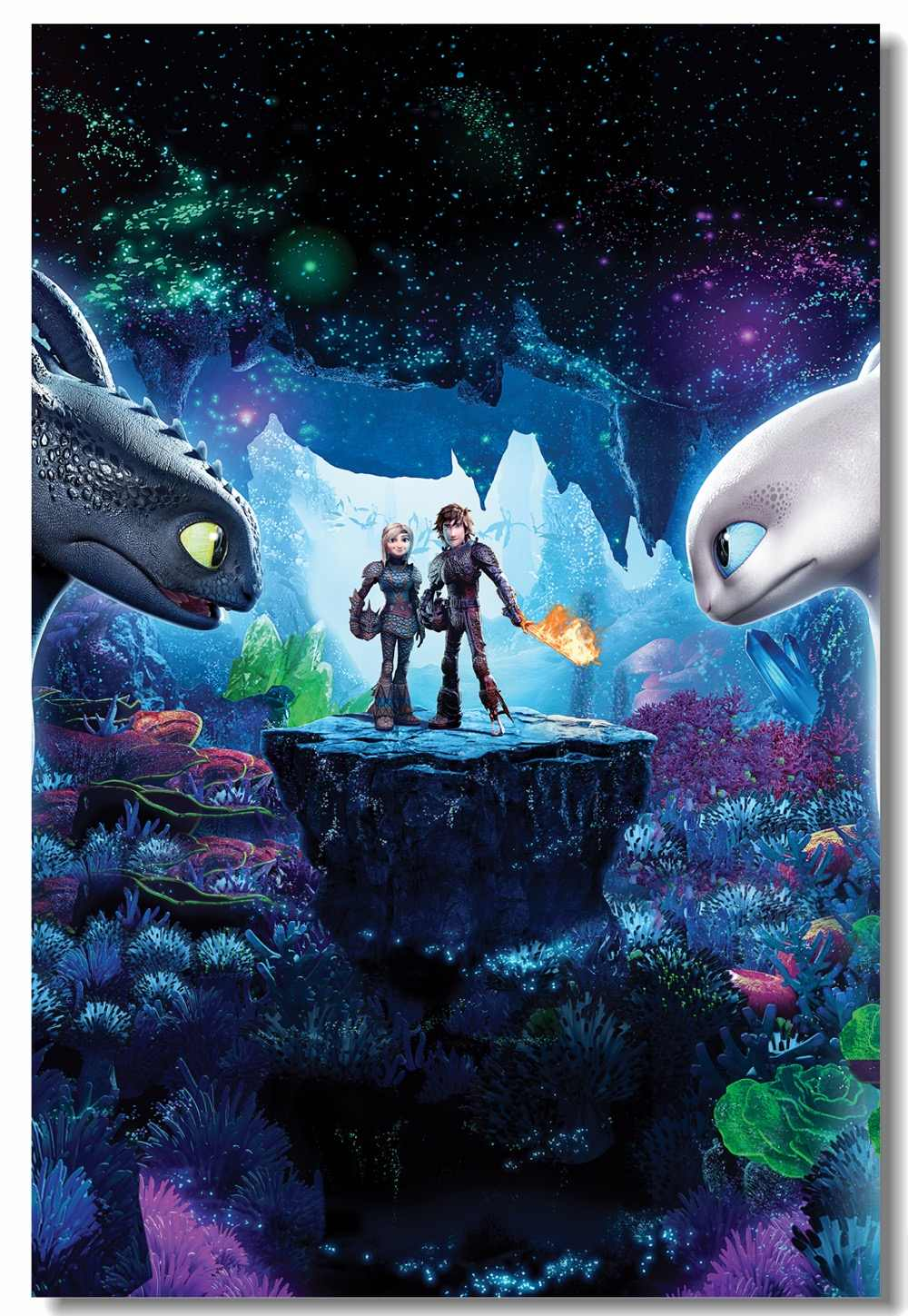 Custom Canvas Wall Arts How To Train Your Dragon 3 Poster Night Fury Hiccup Sticker Httyd Light Fury Wallpaper Home Decor 0856 Aliexpress