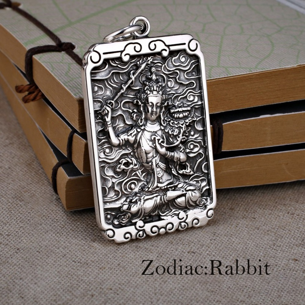 Pure S999 Sterling Silver Pendant Womans Kwan-yin Fit Zodiac Sheep Monkey Pig Bless Luck Pendant Size 50*30*4mmPure S999 Sterling Silver Pendant Womans Kwan-yin Fit Zodiac Sheep Monkey Pig Bless Luck Pendant Size 50*30*4mm