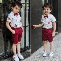 3pcs Boys Clothes Sets Summer Boy Gentleman Suit for Weddings Prom Party Rose Printed Blouse Shirt+Pants+Tie Boy Wedding Suit