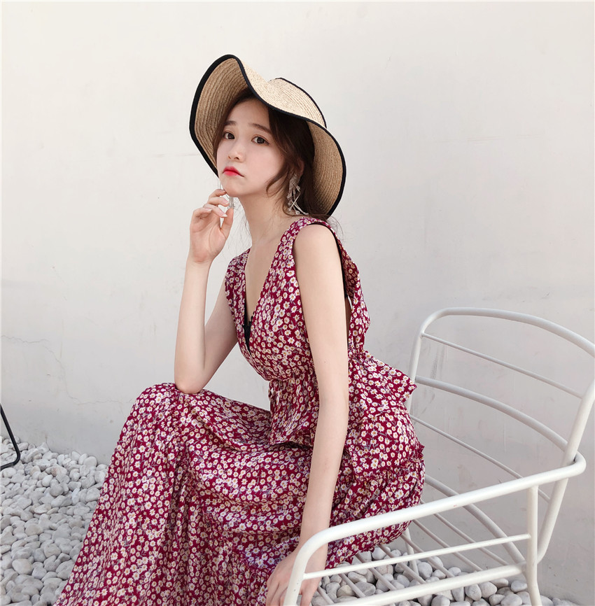2018 Korean Style Sexy V Neck Maxi Long Dress Elegant Floral Print Cascading Ruffle Casual Loose Summer Dresses for Women Cloth