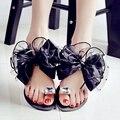Размер 35-42 Корейских Женщин Цветок Желе Сандалии Кристалл Лук Плоские Тапочки Летний Пляж Флип-Флоп Для Женщин тонг Sandales Femme NX88
