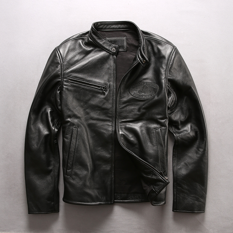 Jacket Genuine-Leather Coat Motorcycle Cowskin Casual Black Slim Men Men's