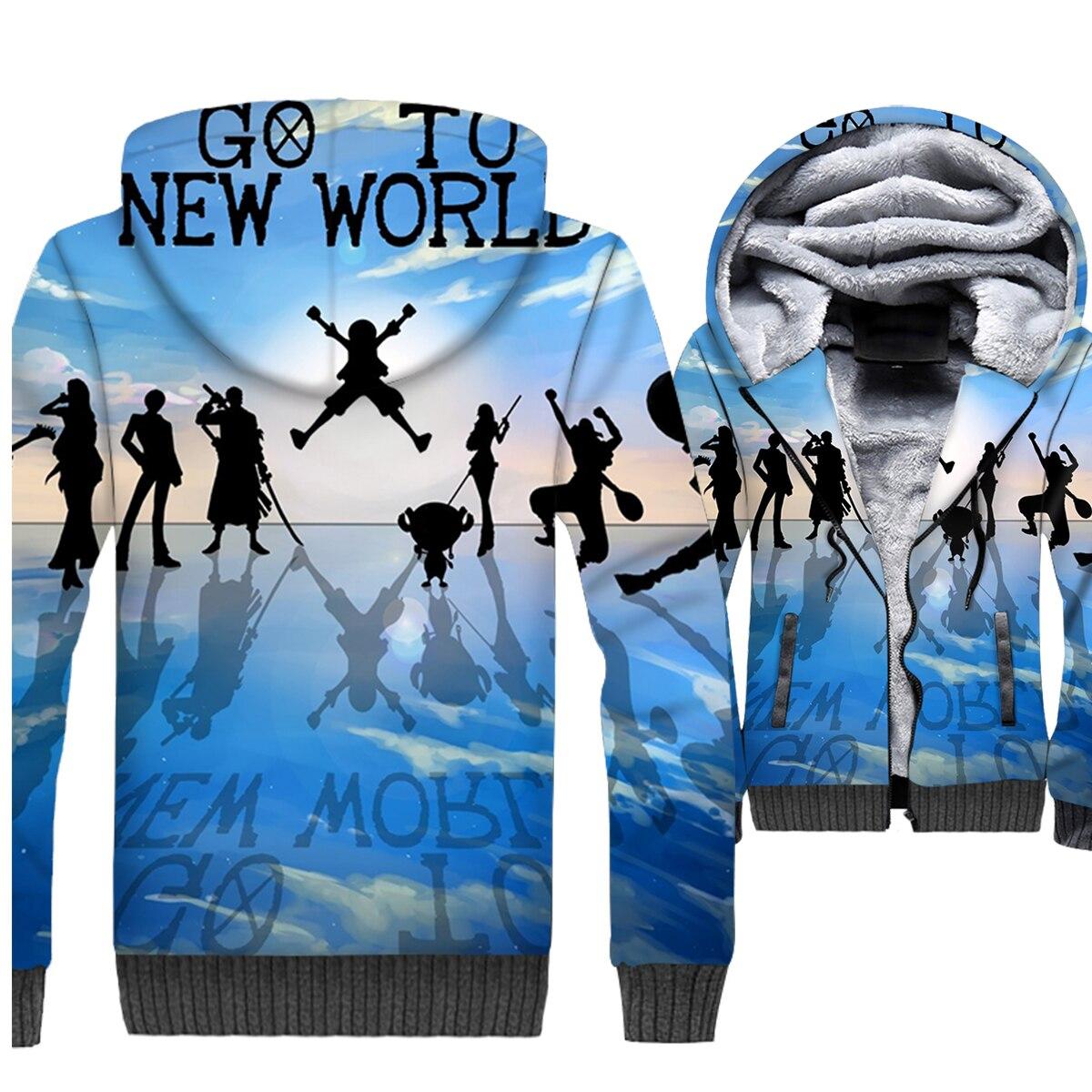 Japan Anime One Piece Hoodies Men 3D Sweatshirts Coat Winter Thick Fleece Trafalgar Law Jackets Luffy The Pirate King Streetwear
